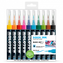 Aqua Ink Pump Softliner 1mm soft brush 10x - Basic-Set 1 - Clear Box