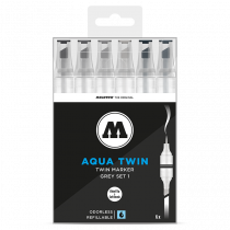 AQUA TWIN 1mm brush / 2-6mm chisel 6x - Grey-Set 1 - Clear Box